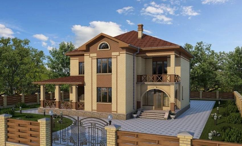 Проект двухэтажного дома с верандой и балконом B-209